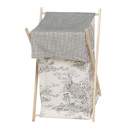 Sweet Jojo Designs - Black Toile Hamper - The Black Toile Hamper by Sweet Jojo Designs will add a designers touch to any child's room. This children's laundry clothes hamper has a wooden frame, mesh liner, and a fabric cover. The removable hamper body is secured to the wooden frame with corner loops and Velcro. The wooden stand folds flat for space-saving storage and the removable mesh liner is great for toting laundry.