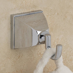 Champs Robe Hook - This single robe hook sits on a bold, square mounting bracket that nicely conceals the fastening hardware, and it's easy to install. Spruce up your bathroom space with this and other items from the Champs Collection.