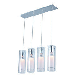 ET2 Lighting - Imola 4-Light Pendant - Well, it's drama on the high ceiling with a pendant light such as this one. Polished chrome shines while offsetting the dramatic, individually hung, cylindrical lights. Perfect for over your new fainting couch — which will now be a necessity, because once your friends and family see this fixture, they'll hit the floor.