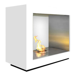 aFire USA - Concorde Electronic Remote Control Ethanol Fireplace - Enjoy complete 360º access when viewing your fire burning in our Concorde Fireplace. Open both front and back, this eco-friendly burner will be the focal point of your designed space. The Concorde makes use of our BL66 ethanol burner - as environmentally friendly as it is beautiful. Our onboard electronics monitor a medical grade fuel pump to ensure complete combustion so no toxic exhaust, soot, smoke or smell is generated when burning. aFire Fireplaces have self monitoring safety sensors with automated shut down procedures making them the safest ethanol fireplaces available. Crafted from high quality, heavy duty 304 grade stainless steel and powder coated steel framework, aFire Fireplaces deliver reliable performance every time...for a lifetime