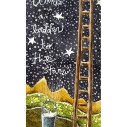 "Forever Young (Original) by Shellie Mitchell - This is a smaller version of my ""Forever Young"" pieces. Perfect for a baby nursery or child's room. It features a line from Bob Dylans song Forever Young and a ladder and bucket of stars !"