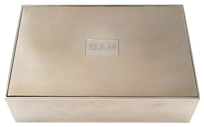 Modern Accessories And Decor Hermes Sterling Silver Dresser Box with Gold Washed Interior and Monogram GAM