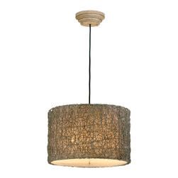 """Uttermost - Asian Naturals Knotted Rattan Pendant Chandelier - This pendant chandelier with its knotted rattan shade is the perfect way to light up a contemporary room. By Carolyn Kinder and Uttermost. Uses three 60 watt bulbs (not included). 19"""" wide. 12"""" high.  Knotted rattan shade.  Uses three 60 watt bulbs (not included).   19"""" wide.   12"""" high."""