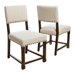 Great Deal Furniture - Aubrey Beige Pattern Fabric  Dining Chairs (Set of 2) - The Aubrey dining chairs are perfect for any room in your home. These chairs are contemporary in design with a colonial flare. The chairs are upholstered with a tan geometric on beige fabric, and is accentuated with the studded detailing and sturdy dark wood frame and legs. These chairs will add a great sense of style to any room you place them in.