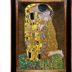 "overstockArt.com - Klimt - The Kiss (Luxury Line) - 24"" X 36"" Oil Painting On Canvas This painting is part of our ""Luxury Line"". It is made of the same hand painted oils on canvas, with the addition of beautifully hand embellished gold and silver accents. Exclusive only to our highest quality reproductions. Hand painted oil reproduction of a famous Klimt painting, The Kiss . The original masterpiece was created in 1907-08. Today it has been carefully recreated detail-by-detail, color-by-color to near perfection. Gustav Klimt, the Vienna master painted the Kiss oil painting in 1907. The painting depicts a couple surrounded by a gold blanket and ornaments sharing a moment of shear passion - the perfect kiss. In the oil and gold masterpiece, the man appears standing as he holds in his arms the kneeling woman. The two seem to be positioned on a flower field, kissing, totally engaged with one another. The woman seems to be following the lead of her partner, but is not taking an active part. The patterns of the man are mostly black and white rectangles, while the woman is engulfed in flowers. The identity of the people depicted in this oil painting is not exactly clear; some suggest that it is Klimt himself and his beloved partner, Emilie Floge. However, that is sheer speculation as Klimt made it a point never to paint himself. Gustav Klimt (1862-1918) was one of the most innovative and controversial artists of the early twentieth century. Influenced by European avant-garde movements represented in the annual Secession exhibitions, Klimt's mature style combines richly decorative surface patterning with complex symbolism and allegory, often with overtly erotic content. This work of art has the same emotions and beauty as the original. Why not grace your home with this reproduced masterpiece? It is sure to bring many admirers!"