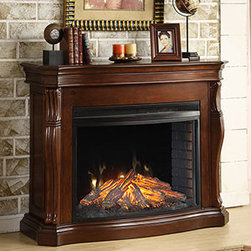 Tuscan Burnished Cherry Electric Fireplace Mantel Package - MEFC3317BCH - With traditional and impressive style, the Tuscan Burnished Cherry Electric Fireplace Mantel Package will work well in many rooms. It has a very warm cherry finish and includes heavily carved curved mantel features to create a strong visual impression. This is balanced nicely by the firebox and convincing log set. This electric fireplace heater has a very realistic wood burning effect that can be put to use with or without the supplemental heating. It uses an array of incandescent bulbs to create a very convincing look, and this feature is very energy efficient.