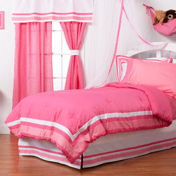 "Simplicity Hot Pink - Full Sheet Set - Flat and fitted sheets come with our signature ""Pink Dots"" cotton print fabric.  Standard pillowcases comes in solid pink and trim in ""Pink Dots"" cotton print fabrics."