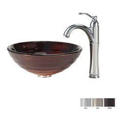 Kraus - Kraus Iris Glass Vessel Sink and Riviera Faucet Satin Nickel - *Add a touch of elegance to your bathroom with a glass sink combo from Kraus