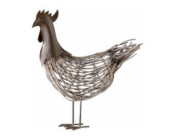 Rustic Grey Iron and Rattan Rooster Sculpture - *Mr. Babes Sculpture