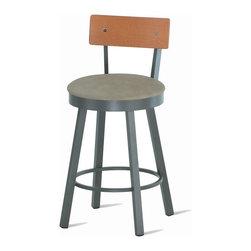 Amisco - Amisco Lauren Swivel Stool with Wood Backrest 40293 - Amisco