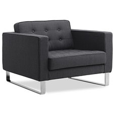 Modern Armchairs And Accent Chairs Chelsea Dark Grey Premium Easy Chair (Sliders)
