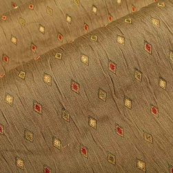 Kahlo Diamond Upholstery Fabric in Treetop - Kahlo Diamond Upholstery Fabric in Treetop is punctuated by green, red, and cream diamonds that form a colorful, geometric pattern on the taupe ground. This serious taupe upholstery fabric is will fit into interior designs for a study, office, or den. Made from a blend of 73% rayon, and 27% polyester, this durable upholstery fabric passes 39,000 double rubs on the Wyzenbeek Abrasion Test. Cleaning Code: S; UFAC: Class I; passes CA117 Test. Width 57.62″; repeat 5.12″ V x 1.77″ H.