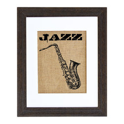 Fiber and Water - Jazz Art - Whether you like it cool, hot, Dixieland, swing or something else, show your appreciation for jazz with this nifty print. Hand-pressed with water based ink and showcasing the texture of natural burlap, it makes a simply chic statement and is neutral enough to hang in any room.