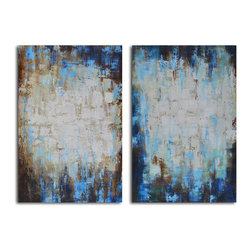 Through blues to light Hand Painted 2 Piece Canvas Set - True blue. These moody, modernistic paintings will add a shot of color and texture to your walls. Each is a hand-painted original, so subtle differences are to be expected and celebrated.
