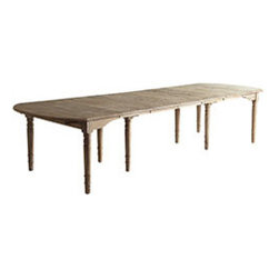 OAK FARMHOUSE TABLE - A true entertaining table for a buffet to feed a king! The finish is beautifully weathered and it lacks an apron, so you have plenty of room for a full belly! It is just under 13 feet long with all seven leaves inserted and will comfortably seat 14 people (with drop leaves on both ends). Pull out all the leaves and it is the perfect little breakfast table. Or pick almost any length in between – depending on how many leaves you insert – in 18-inch increments.