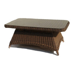 Wicker Paradise - Wicker Rectangle Cocktail Table - Bayshore - This outdoor wicker cocktail table is the perfect addition to your patio décor. The rich hazelnut finish allows this piece to be easily paired with your existing furniture or matched with other valuable items from the Bayshore collection. The all weather cocktail table is built on an aluminum frame and comes with a glass top.