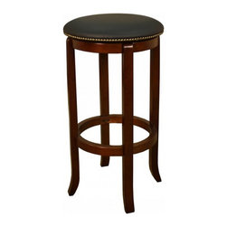 American Heritage - American Heritage Princess 24 Inch Counter Height Stool in Walnut - A simple but sturdy frame accented with the black full swivel padded cushion makes this Princess counter stool perfect for any room of the house. What's included: Counter Height Stool (1).