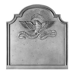 """Pennsylvania Firebacks - 20.5"""" x 21.5"""" American Eagle Fireback - This fireback was created to commemorate the two-hundredth anniversary of the American Bald Eagles use on the Great Seal of the United States. One of the first castings of this fireback was sent to the White House as a gift and was accepted by President Ronald Reagan."""