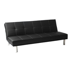 Eurostyle - Sven Sofa Bed, Black Leatherette/Stainless Steel - Upholstered in black leatherette over foam