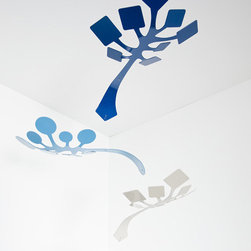 Schmitt Design - Sprig Mobile - Blue - Schmitt Design - This sculptural mobile features a playful interplay of geometric and organic forms. The elements, colors and subtly curved shapes contrast with one another and the ceiling for eye-catching dimension. Fluid movement has a calming influence and horizontal orientation makes for optimal viewing from below.