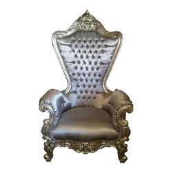 Lansky Studio - Colette French LOUIS XV Style Throne Chair in Silver - Our beautiful French Furniture made from Solid Wood is all hand made, hand carved and hand finished. We delivery quality and beauty that will last for many years to come.