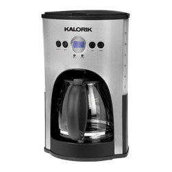 Kalorik - Black Coffee Maker - 12 Cup by Kalorik - This gorgeous 12-cup stainless steel coffee maker has not only a programmable clock/timer but also a 2-hour shutoff system that will turn the coffee maker off in case you forget. In addition, the sleek coffee maker offers an automatic 'pause & serve' function and has a nonstick keep-hot plate so that your coffee will always be fresh and warm. Features are the drip-free carafe, the transparent water tank and a blue backlit display. This coffee maker uses cone paper filters type 4.