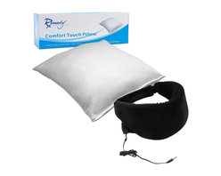 Trademark Global - Memory Foam Pillow with Heat Sensitive Sleep - Memory foam outer layer. Memory foam cluster fill. Hypo allergenic. Heat sensitive memory foam design. Adjustable Velcro straps. 3.5 mm stereo input jack. Cord length: 30 inches. Built-in headphones. Pillow: 14.375 in. L x 17.5 in. W x 4.5 in. H. Sleep Mask: 1.625 in. W x 29 in. L x 4.375 in. H. MP3 player not includedGive yourself over to complete relaxation without concern for exterior distractions with the Remedy Heat Sensitive Memory Foam Sleep Mask. The Remedy Heat Sensitive Memory Foam Sleep Mask gives complete comfort and darkness regardless of your surroundings as the memory foam conforms to the contours of your face. Remedy Heat Sensitive Memory Foam Sleep Mask functions perfectly as a sleep mask, but also features a music input and built-in headphones so you can further isolate yourself from noisy surroundings by simply plugging in your iPod, cell phone or other MP3 device. Enjoy relaxation, sleep and even music during long flights, travel or at home. A high density, slow recovery, temperature sensitive memory foam developed for NASA provides exceptional, contouring support. Plus, this amazing material responds to your body heat and conforms to you, relieving pressure areas and improving comfort. Memory Foam clusters are made with the same viscoelastic foam used by NASA. Our unique process utilizes micro clusters to create a luxury pillow that is in balance with the way you sleep. Allergy sufferers love our memory foam bed pillows because they're naturally hypo-allergenic. This pillow fits a standard size pillowcase.