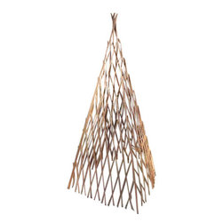 "Master Garden Products - Classic Willow Expandable Teepee, 14""W x 48""H - Our expandable four sided classic willow teepee is self standing. Constructed from skinless processed willow saplings nailed together on the diagonal portion of the structure,  our trellis is sturdy enough for tomatoes and adds a rustic look to your garden. Four-sided construction lets you place the trellis over plants or you can grow them around its perimeter."