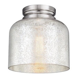 Murray Feiss - Murray Feiss FM408PN 1-Light Hounslow Flushmount, Polished Nickel - The Feiss Hounslow one light flush mount fixture in polished nickel is the perfect way to achieve your desired fashion or functional needs in your home. The unique elongated dome shade is just the beginning of the design details featured in pendants and flush mounts of the Hounslow Collection. To complement a wide range of decor offered are three glass options clear glass to showcase a unique bulb as well as two variations on Mercury glass created by two different silver leaf techniques are used to produce either a dark brown or true silver Mercury glass.