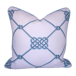 PillowFever - White Cotton Pillow Cover with Blue Rope and Knot Print with Pipping - Pillow insert is not included!