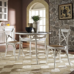 Identify Dining Table in White (EEI-1037-WHI) - Evoke rustic remembrances as you sip a leisurely tea or hearty breakfast. The disk-shaped Identify table is truly something out of this world. Made out of elm wood with a scratch resistant varnish coating, the piece conveys a modern feel while staying pleasant and unassuming. The table requires minimal assembly and is a pleasant addition to country cottages, rustic environs, or any urban dweller in search of a respite. Set Includes: One - Identify Dining Table