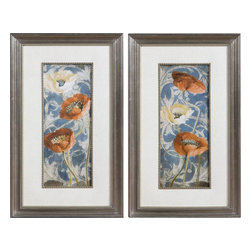 Uttermost - Poppies De Bleu Floral Art Set of 2 - These Colorful Poppies Are Accented By Beige Faux Linen Mats And Surrounded By Golden Bronze Frames And Fillets With A Light Brown And Black Wash. Prints Are Under Glass.