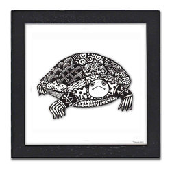 Turtle Pen & Ink - The Turtle is a print of a pen and ink drawing by Pamela Corwin. The tiny intricate patterns in each of Pam's pen & inks create beautiful detailed graphic designs. Framed in a classic black frame and available in two sizes, this handsome print will fit in any room. They look great in sets of two or three.