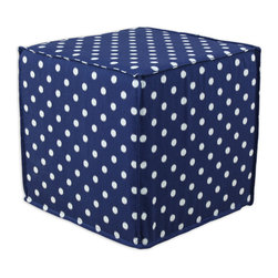 """Chooty - Chooty Ikat Dot Sunshine Blue-Natural Collection 17"""" Square Seamed Foam Ottoman - Insert 100 High Density Foam, Fabric Content 100 Cotton , Color Navy, White, Hassock 1"""