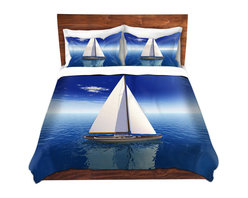 DiaNoche Designs - Duvet Cover Microfiber by Mark Watts - Sail - Super lightweight and extremely soft Premium Microfiber Duvet Cover in sizes Twin, Queen, King.  This duvet is designed to wash upon arrival for maximum softness.   Each duvet starts by looming the fabric and cutting to the size ordered.  The Image is printed and your Duvet Cover is meticulously sewn together with ties in each corner and a hidden zip closure.  All in the USA!!  Poly top with a Cotton Poly underside.  Dye Sublimation printing permanently adheres the ink to the material for long life and durability. Printed top, cream colored bottom, Machine Washable, Product may vary slightly from image.