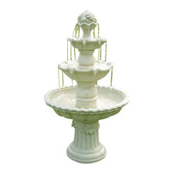 "Serenity Health & Home Decor - 4-Tier White Fountain w/ Fruit Top - 52"" Tall x 31"" Diameter, Fountain Weight: 62 lbs."