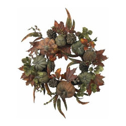 Nearly Natural - 24 Inch Pumpkin and Gourd Wreath - A west-Coast twist on a treasured holiday classic, this 24 wreath is bursting with the spoils of a traditional Autumn harvest. With gourds and small pumpkins adorning the multihued leafs, berries, and twigs backdrop, this eye-Catching offering is perfect for adding that touch of Fall to your holiday decor. Plus, it'll stay fresh for years to come.