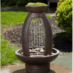 Alfresco Home Pioggia Outdoor Fountain with Light - The unique design of the Alfresco Home Pioggia Fountain with Light may appeal to classical music enthusiasts with its innovative water flow. The resin fountain is lightweight and highly durable but has the look of copper. The patina provides unpredictable color variations, making the fountain truly one of a kind. The Pioggia Fountain is designed so that the streams of water resemble the strings of a musical instrument. The fountain is intended for three-season use only - it should be brought indoors during the winter to protect it from freeze-thaw conditions. Setup is easy; there are no wires to mess with, and a submersible pump is included. Weight: 19.85 pounds. Dimensions: 16.93L x 16.93W x 25.39H inches.About Alfresco HomeOffering a wide selection of fashionable products, from casual furniture and garden lighting to permanent botanicals and seasonal decor, Alfresco Home casual living products offer a complete line of interior and exterior living furnishings and accents. Based out of King of Prussia, Penn., Alfresco Home continues to blend indoor and outdoor furniture to create a lifestyle of alfresco living inside and outside of the home. Inlaid mosaic tabletops, fine hardwood furnishings, artisan-inspired accents, premium silk botanicals, and all-weather wicker sets are just a few examples of the kind of treasures you'll find in Alfresco's specially designed collections.Please note this product does not ship to Pennsylvania.