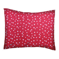 SheetWorld - SheetWorld Twin Pillow Case - Percale Pillow Cases -Cloudy Stars Red - Twin pillow cases. Made of an all cotton percale fabric. Features a beautiful Cloudy Stars Red print. (matching sheets available on 'buy baby sheets' page).