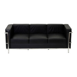 LexMod - Le Corbusier Style LC2 Sofa in Genuine Black Leather - Urban life has always a quandary for designers. While the torrent of external stimuli surrounds, the designer is vested with the task of introducing calm to the scene. From out of the surging wave of progress, the most talented can fashion a forcefield of tranquility.