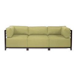 Howard Elliott Sterling Willow Axis 3-Piece Sectional - Mahogany Frame - A Fashionable Trio! Lounge in style on a Sterling Axis 3-piece Sectional will intoxicate your room with its uplifting style. Float the Sterling Axis 3-piece Sectional in your room for an intimate seating arrangement. Expand your sectional with additional chair, corner or ottoman pieces. The steel frame is available in 2 finishes allowing you to choose a frame to best compliment your color. This piece features boxed cushions with Velcro attachments to keep the cushions from slipping and looking their best all of the time. Your Sterling Axis 3-piece Sectional will definitely turn heads with its sophisticated linen-like texture and vibrant color selection.