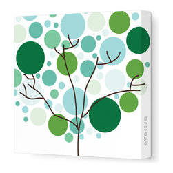 "Avalisa - Imagination - Foliage Stretched Wall Art, 12"" x 12"", Green -"