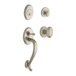 Baldwin Hardware - Estate Collection Logan Single Cylinder Handleset with Knob in Satin Nickel - The Baldwin Estate collection Logan Single Cylinder Satin Nickel Handleset with Knob is intended for use on exterior doors where keyed entry is required.