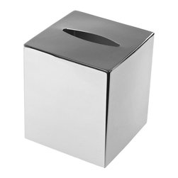 Gedy - Modern Square Polished Chrome Tissue Box Cover - This modern style accessory was made in Italy by Gedy.