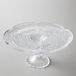 "Horchow - Fan Cake Stand - Beautifully elegant, this sparkling cake stand turns any occasion into a event. An ornate, lacy fan motif gives it a slightly vintage look. Made of lead-free crystal. Hand wash. 10""Dia. x 5.5""T. Imported."