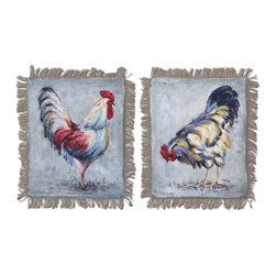 Rooster Barnyard Burlap Wall Art Set of 2 - *Delightful barnyard animals have been hand painted on burlap with fringed edges, then attached to wooden hard board.
