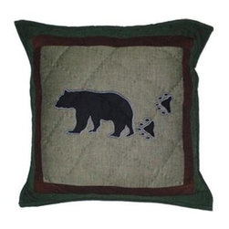 Patch Magic - Bear Trail Bear Toss Pillow - 16 in. W x 16 in. L. 100% Cotton. Machine washable.. Line or flat dry onlyDecorative applique Quilted Pillow.