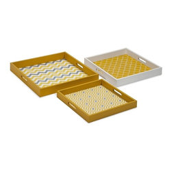 """IMAX CORPORATION - Essentials Graphic Yellow Trays - Set of 3 - Essentials by Connie Post has received a makeover with new colors and styles. This set of three nesting trays in modern, funky pattern are available in melon sorbet, marine blue, mellow yellow and green apple. Set of 3 trays in varying sizes measuring approximately 2-2.5-2.75""""H x 15.75-18.25-20"""" each. Shop home furnishings, decor, and accessories from Posh Urban Furnishings. Beautiful, stylish furniture and decor that will brighten your home instantly. Shop modern, traditional, vintage, and world designs."""
