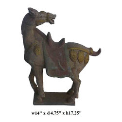 Chinese Handmade Tang San Cai Ceramic Battle Horse Statue - This horse image is originally from Chinese Tang dynasty San Cai battle horse. It is made of ceramic clay and has very detailed hand carving. It is a unique house decor and also collectable.