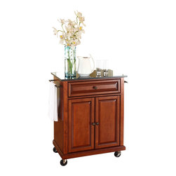 Crosley Furniture - Crosley Furniture 28x18 Solid Black Granite Top Portable Kitchen Cart/Island in - Constructed of solid hardwood and wood veneers, this portable kitchen cart is designed for longevity. The beautiful raised panel doors and drawer front provide the ultimate in style to dress up your kitchen. The deep drawer is great for anything from utensils to storage containers. Behind the two doors, you will find an adjustable shelf and an abundance of storage space for things that you prefer to be out of sight. The heavy duty casters provide the ultimate in mobility. When the cabinet is where you want it, simply engage the locking casters to prevent movement. Style, function, and quality make this portable kitchen cart a wise addition to your home.